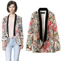 New Vintage Retro Womens Chiffon Boho Hippie Loose Floral Print Kimono Coat Cape Blazer S/M/L B11 SV005042