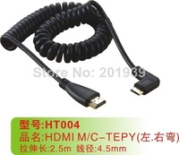 Brand New High Quality 2.5m HDMI to Mini HDMI Spring Curl Cable V1.4 3D for Sony Canon Camcorders 100pcs/lot