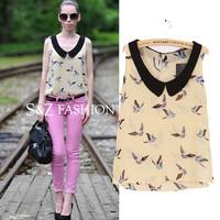 SZ056 2014 New Fashion Women's Bird Print Chiffon Blouses Sleeveless Turn-down Collar Tops For Women Sexy Blusas Femininas S&Z