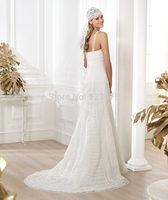 NEW  2014 Crochet/embroidered wedding dress with semi-sheer V-neck and mermaid skirt openwork decoration women wedding dress