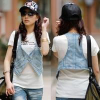 2014 summer women vest/sequins trim sleeveless denim vests/jeans waistcoats sleeveless blazer short coat/coletes Femininos/WTE