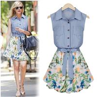 2014 new fashion women summer dress chiffon dress high quality stitching Slim denim vest chiffon print dress free shipping