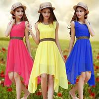 1066 free shipping 2014 summer women new fashion 7 colors o neck rivet cute sleeveless dress ladies chiffon long maxi dresses XL