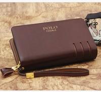 Men's casual leather clutch bag double zipper wallet