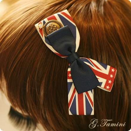 The Union Flag Asymmetric Bow Hair Clip British Style Ribbon Bow with Alligator Clips Hair Accessories For Women(China (Mainland))