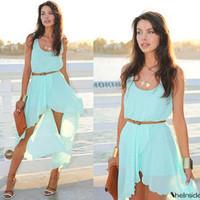1065 free shipping 2014 summer women new fashion green irregular long maxi dress ladies cute chiffon dresses plus size S-XL