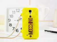 2014 New arrival hot Fashion Quilted Silicone Soft Chain Holder Shockproof Dirt Dust Proof for samsung galaxy s4 case