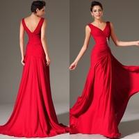 Dbm009 Free Shipping High Level Quality Sexy Fashion Popular V Neck Red Prom Dresses China 2014