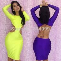 Free Shipping 2 Colors 3 Sizes Long Sleeve Bandage Dress Neon Clubwear Dresses Bodycon dress Sexy women dresses B1355