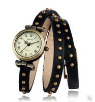 Free shipping Personalized long belt rivets Korean fashion retro bracelet watch ladies fashion casual quartz Wristwatches