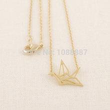 popular silver crane necklace