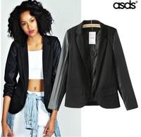 Retail 2014 New Fashion Leather Patchwork Ladies Blazer & Short Coat 14329