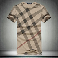 new fashion 2014 summer short-sleeved t-shirt men clothing casual clothes slim o-neck plaid t shirt men's t-shirts 100% cotton