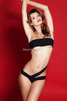 2014 new European and American black plastic chain swimsuit swimwear Free Shipping