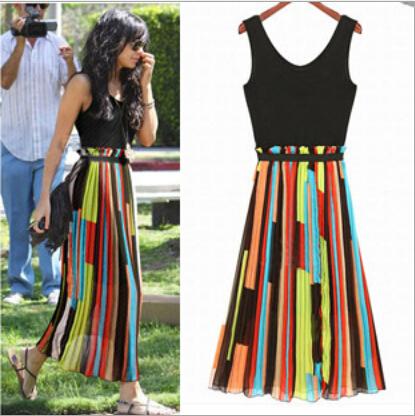 European American color matching new 2014 summer fashion beach chiffon long dress irregular O-NECK slim neon dress womens(China (Mainland))