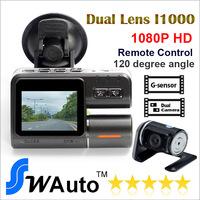 """original I1000 Car DVR 1080P Dual lens 720P+2""""+HD+ 4 IR Lights + Wide Angle 120 Degrees+car camera C105 gift"""