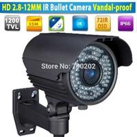 """72IR Security CCTV IR Bullet Camera varifocal lens 1200TVL vandalproof 2.8-12MM Lens 1/3"""" SONY CMOS with OSD MENU"""
