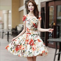 summer 2014 new short-sleeved V-neck dress (L-XXXL) size women's bohemian beach  cocktail dresses