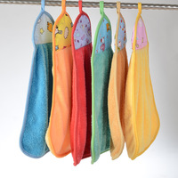 100PCS Drop Shipping Hanging Chads Hands Towels Coral Fleece Cheaning Cloth Cartoon Design 35*45cm 45G Super-Absorbent  T0003
