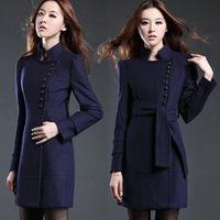 2014 Women Woolen Coat  Plus Size Fashion Coat Autumn & Winter Made Long Clothing Blue Slim Fit Casacos Femininos