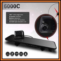 "Free Shipping 6000C Car DVR Rearview Camera 4.3"" LCD+HD 1280*720P 30fps+G-sensor+Dual lens Camera+IR Night Vision+Loop Recrding"