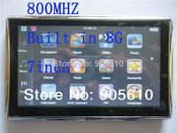 Fashionable Metal Edge 7 inch car GPS navigation Fast MTK 800MHZ 128RAM/8GB gps navigator 800*480 Hebrew/Czech/Polish/Blugarian
