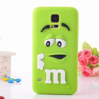 Free ship! New Cute Cartoon 3D Rubber M&M Fragrance Chocolate Rainbow Beans case For Samsung Galaxy S5 I9600