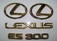 1set  ES300 Car Motor Auto ABS-plastic Gold 3D Badges Emblem Sticker  Hood Grille Bumper Trunk