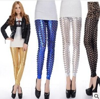 New Elasitc Sexy leggin 4 Colors Punk Rock Metal Bright Skin Scales Hole Fitness Fashion Leggings For Women faux leather leg