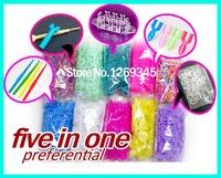 5 in 1 colorful  4800pcs Rubber  Loom Bands Kit Refills Latex Bands Baby gift 10Hooks +125S+1 big hooks+1mini loom+1 easy weaver