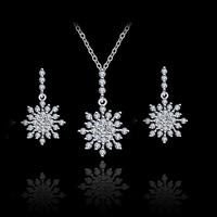 AAA Grade Zirconia fashion 925 Silver snow pendant Jewelry Set