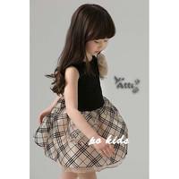 5pcs/lot wholesale ,flower plaid sleeveless dress summer kid clothes, gril dress, fashion baby dress