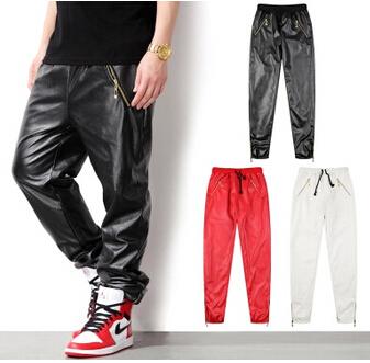 Hop Leather Pants Men Leather Zipper Chain Biker Jeans Jogger Pants
