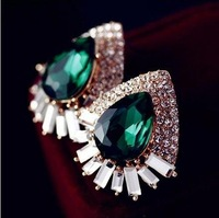 New 2014 Fashion Jewelry Blue Crystal Vintage Stud Earrings For Women High Quality star women's earrings