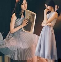Free shipping 2014 women's high quality aesthetic small fresh sleeveless pleated blue chiffon  dress