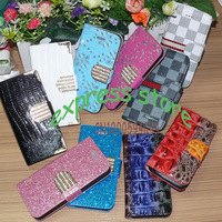100pcs/lot mix order  PU Leather Case for iPhone 5C 5S 5G 4S 4  bling flip wallet for samsung S3 S4 S5 note2 note3 free by DHL