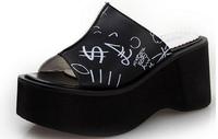 2014 new women fashion summer graffiti euramerican style high heels wedges slippers Sandal shoes open-toed platform pumps