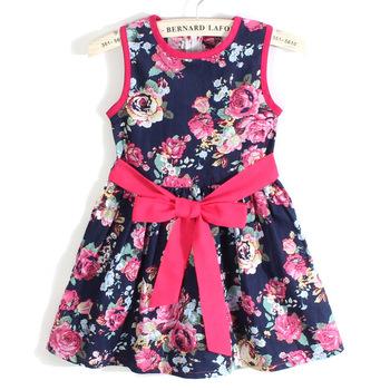 Летнее платье 2014 девушка платье новый бесплатная доставка для 3-11 лет с бантом цветочные девушки принцесса ну вечеринку с бантом дети вечернее платье 23