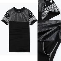 Gd misbhv hba leather gold side zipper ultra long bandana tee shirt
