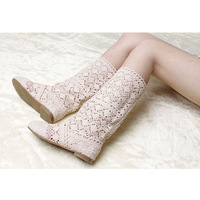 2014 Knitted cutout boots net boot net fabric flat cool shoes high-leg  short leg summer autumn single sneakers