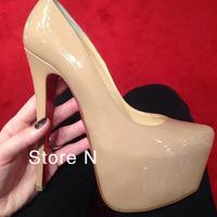 designer Fashion Women's Pumps Nude Patent leather platform High Heels thin Heels shoes sandals Bride shoes