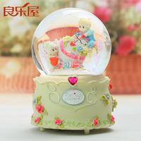 Swivel With Snowflake,Luminous crystal ball music box snowdrift romantic music box birthday gift to friends free shipping