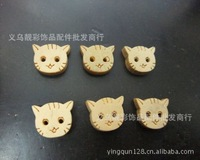 free shipping  Wholesale KT cat two natural wood buttons cartoon buttons for children scrapbooking button wooden buttons