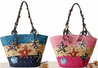 Boho summer beach flower sun dress match knitted shoulder bag handbag hobo bag