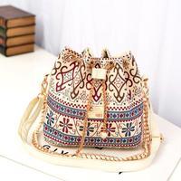 Casual Handbag Canvas Print Bucket Handbag Chain String Open Style Shoulder Bag Bohemia Messenger Bag B057