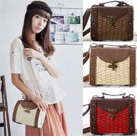 Vintage handmade straw knitted Boho shoulder cross body PU leather bag handbag