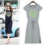 S-XXL European women summer dress new fashion with printing short sleeve dress free shipping