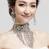 2014 New Luxurious big crystal wedding jewelry set gorgeous rhinestone necklace+earrings