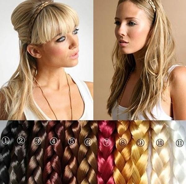 2014 new women's Synthetic Hair Band Plait Elastic Bohemia Braids Hairband Headband drop shipping SFD037(China (Mainland))