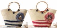 Boho beach navy stripe handmade knitted handbag shoulder shell bag organizer new